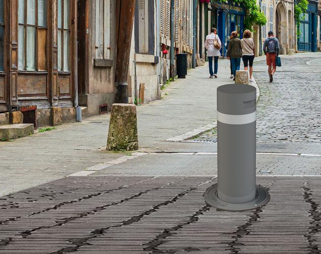 Borne anti bélier amovible dans une rue